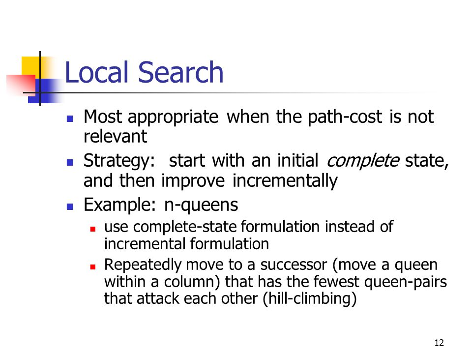 Local Search Most appropriate when the path-cost is not relevant