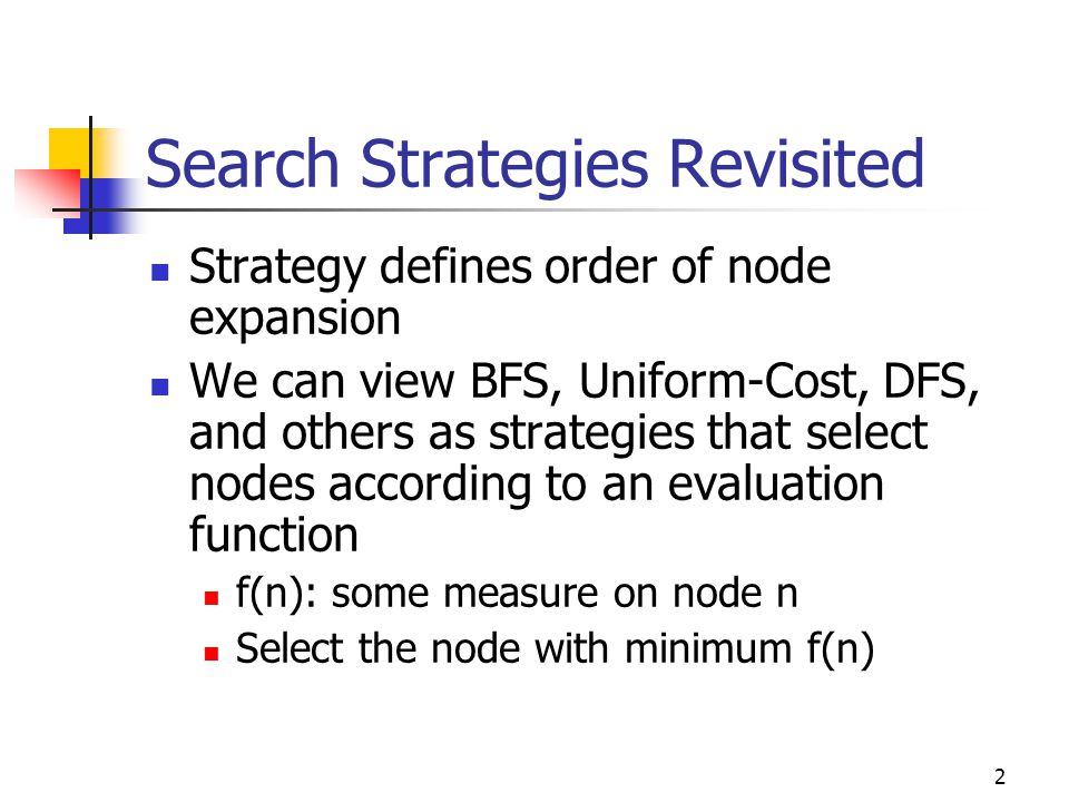 Search Strategies Revisited