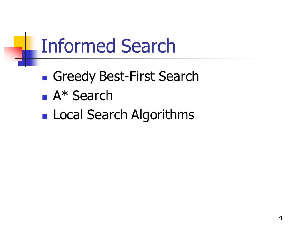 Informed Search Greedy Best-First Search A* Search