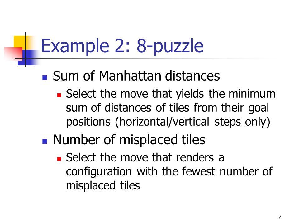 Example 2: 8-puzzle Sum of Manhattan distances