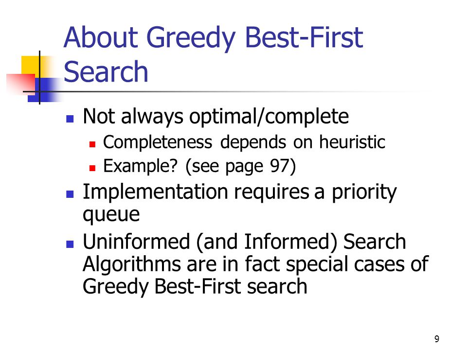 About Greedy Best-First Search