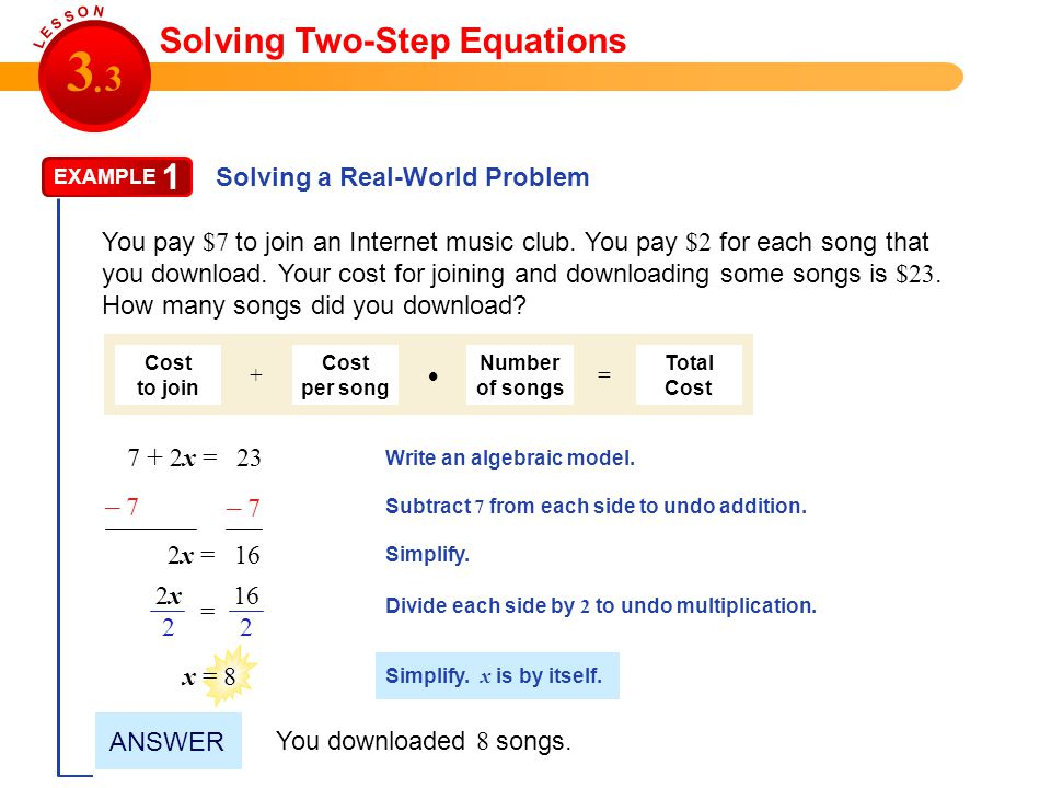 3 3 . 1 Solving Two-Step Equations – 7 – 7