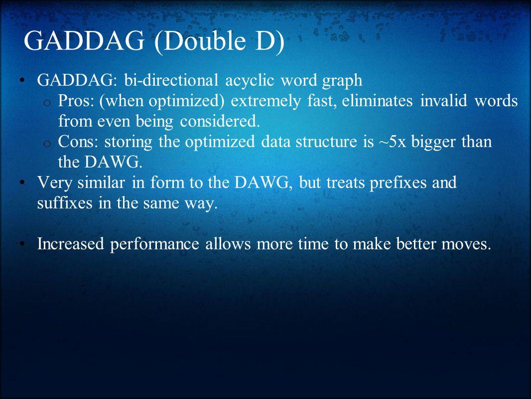 GADDAG (Double D) GADDAG: bi-directional acyclic word graph