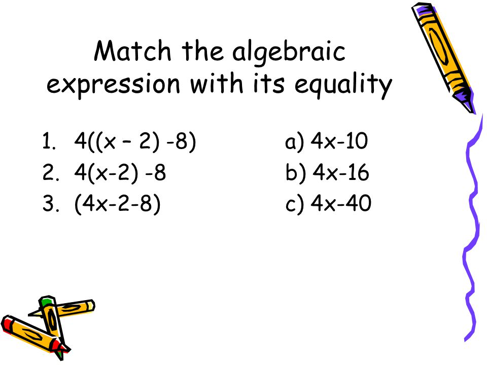 Match the algebraic expression with its equality
