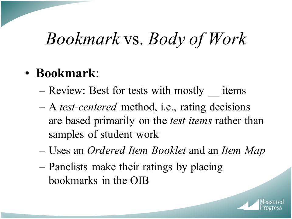 Bookmark vs. Body of Work