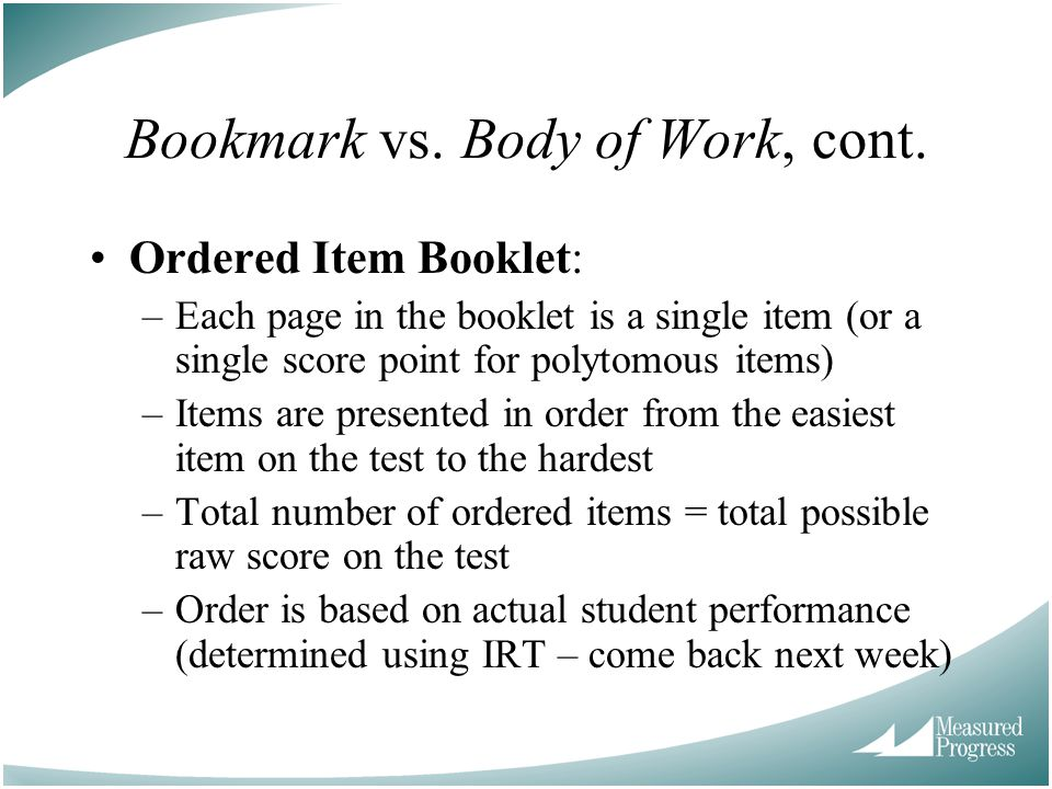 Bookmark vs. Body of Work, cont.