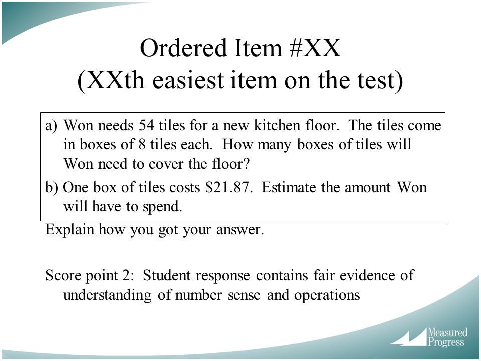Ordered Item #XX (XXth easiest item on the test)