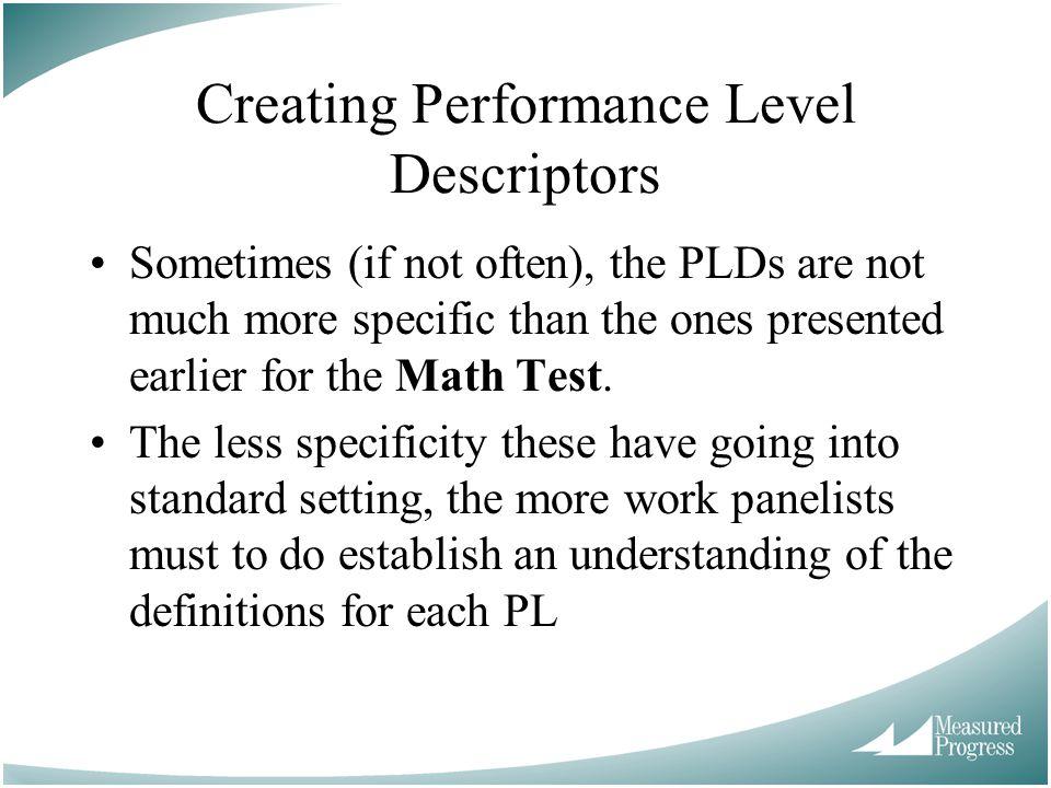 Creating Performance Level Descriptors