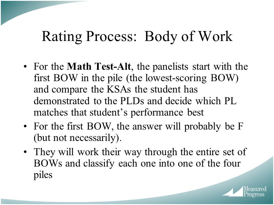 Rating Process: Body of Work