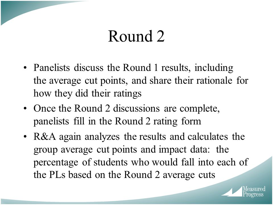 Round 2 Panelists discuss the Round 1 results, including the average cut points, and share their rationale for how they did their ratings.