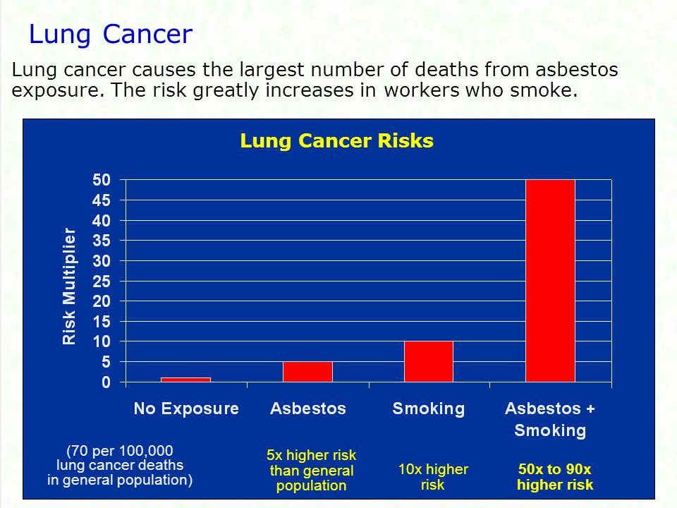 Lung Cancer Lung cancer causes the largest number of deaths from asbestos exposure. The risk greatly increases in workers who smoke.
