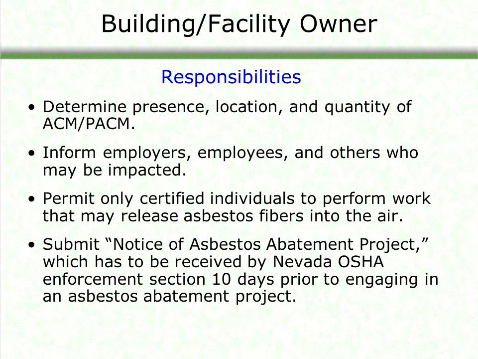 Building/Facility Owner