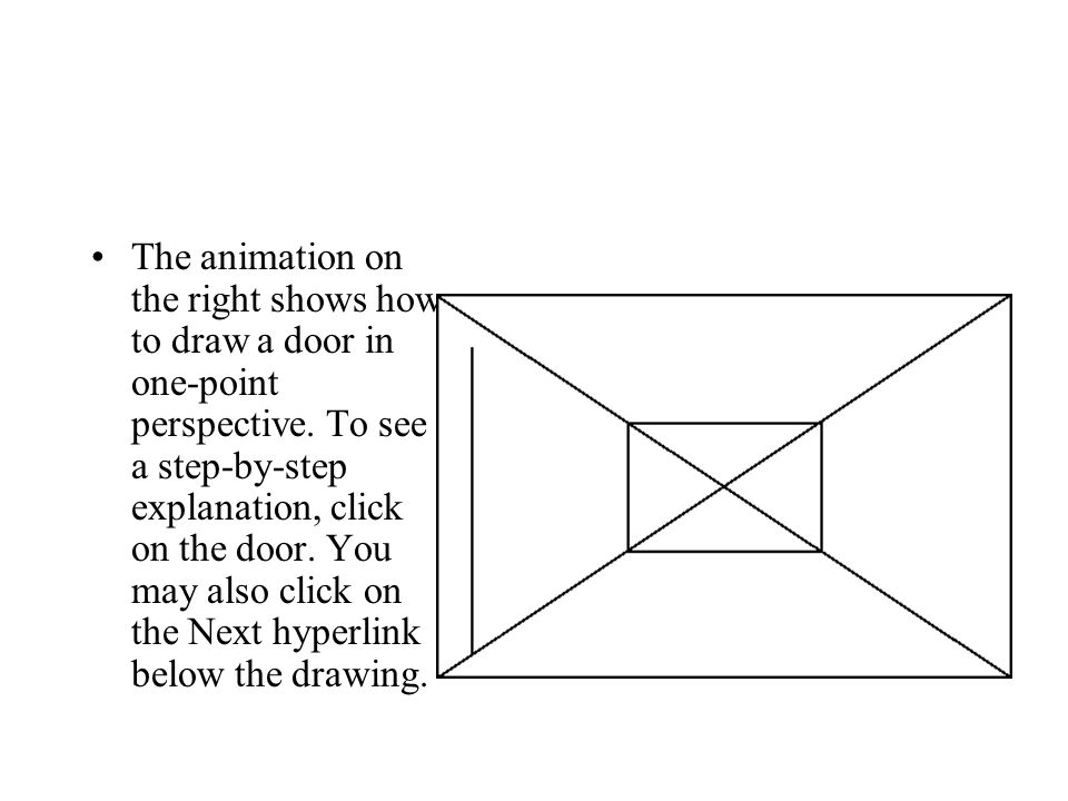 The animation on the right shows how to draw a door in one-point perspective.