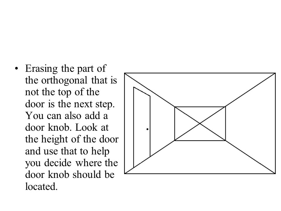 Erasing the part of the orthogonal that is not the top of the door is the next step.