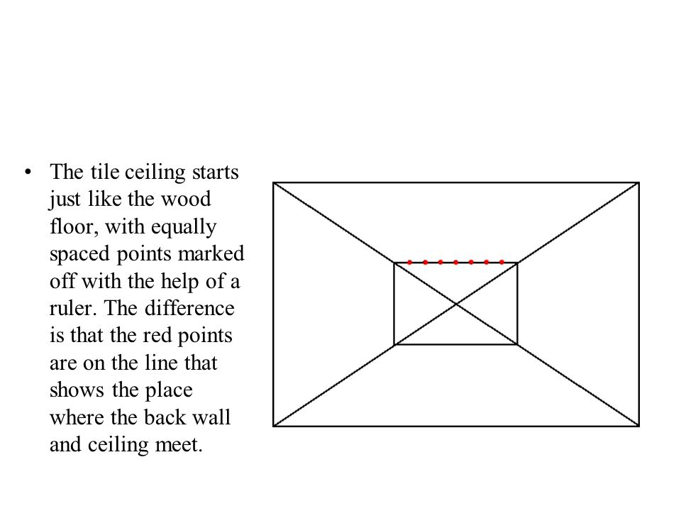 The tile ceiling starts just like the wood floor, with equally spaced points marked off with the help of a ruler.