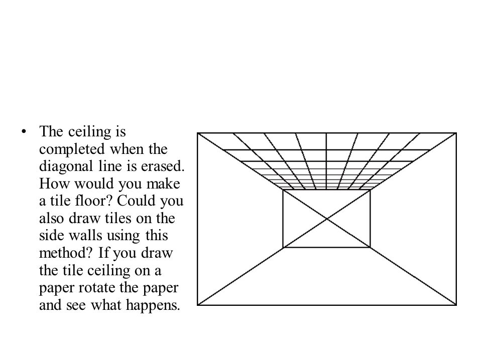 The ceiling is completed when the diagonal line is erased