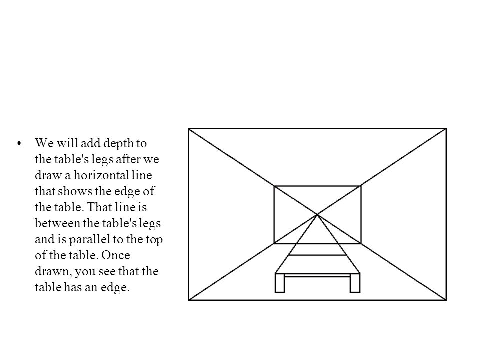 We will add depth to the table s legs after we draw a horizontal line that shows the edge of the table.