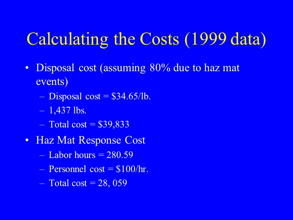 Calculating the Costs (1999 data)