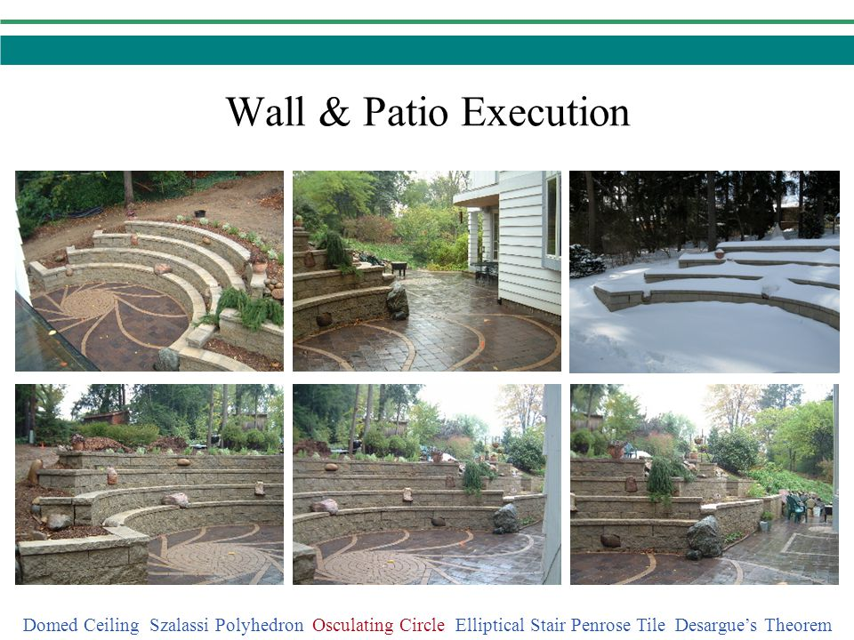 Wall & Patio Execution Domed Ceiling Szalassi Polyhedron Osculating Circle Elliptical Stair Penrose Tile Desargue's Theorem.