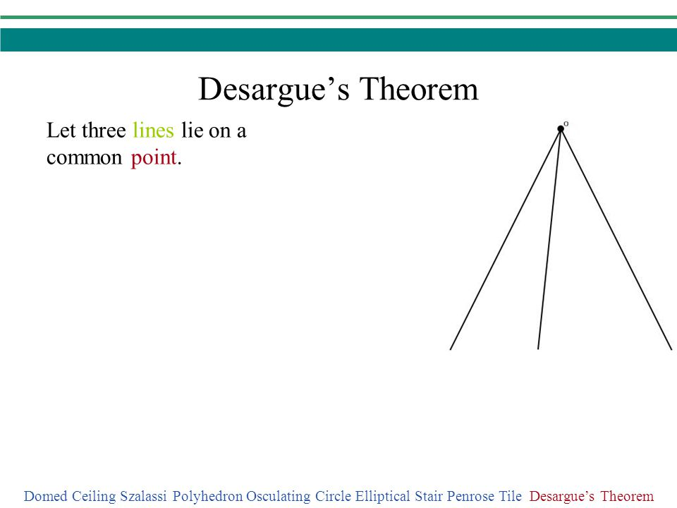 Desargue's Theorem Let three lines lie on a common point.