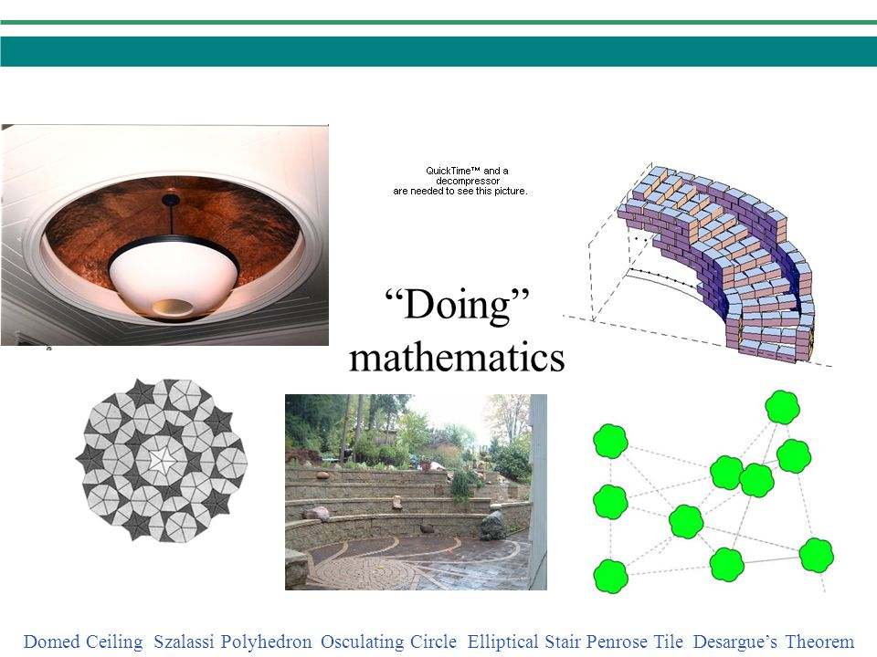 Doing mathematics Domed Ceiling Szalassi Polyhedron Osculating Circle Elliptical Stair Penrose Tile Desargue's Theorem.