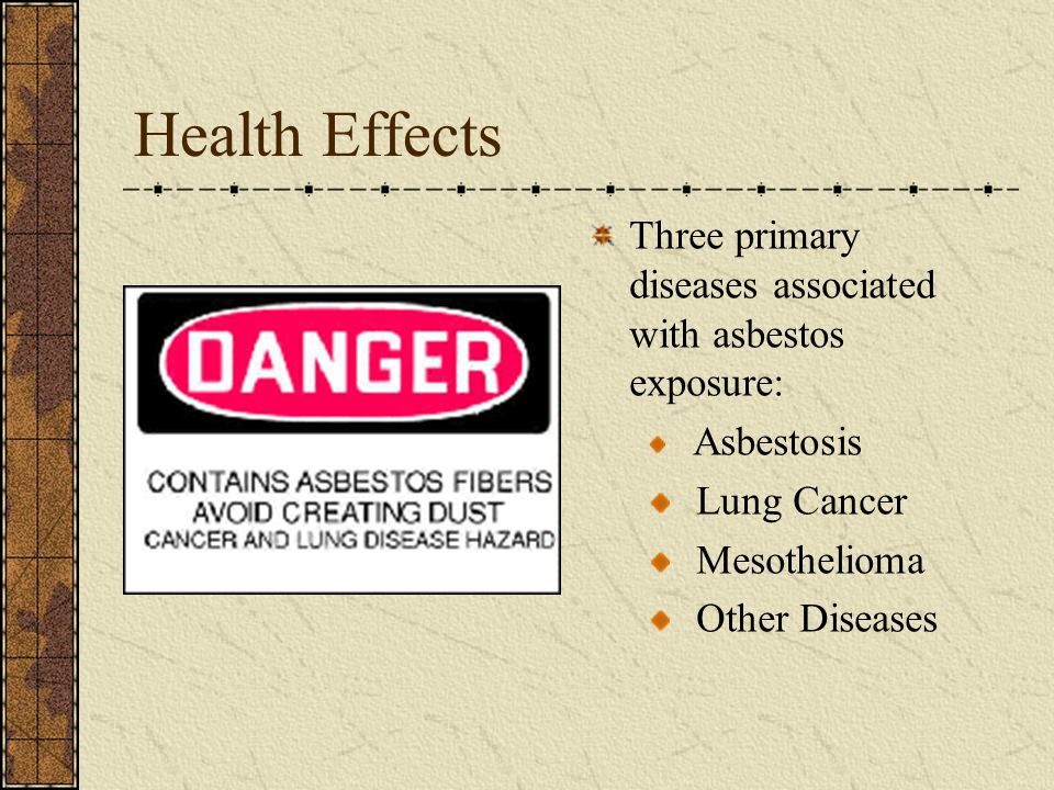 Health Effects Three primary diseases associated with asbestos exposure: Asbestosis. Lung Cancer.