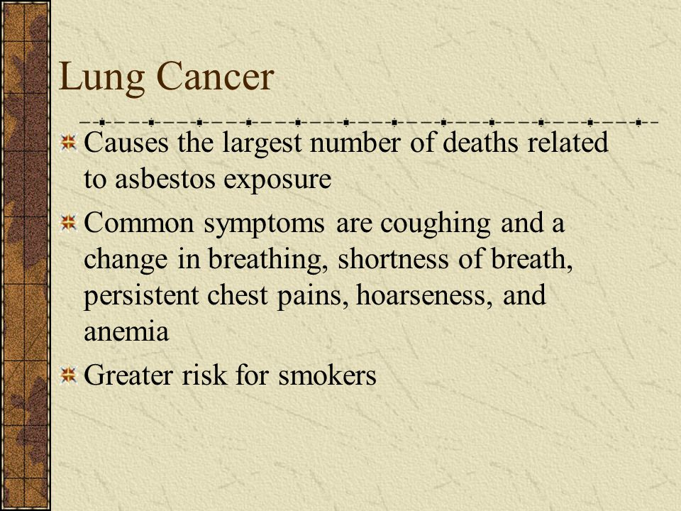 Lung Cancer Causes the largest number of deaths related to asbestos exposure.