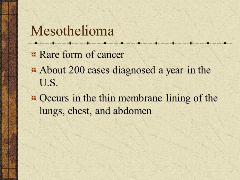 Mesothelioma Rare form of cancer