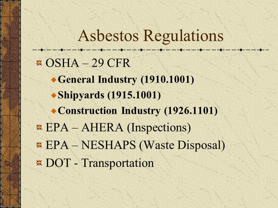 Asbestos Regulations OSHA – 29 CFR EPA – AHERA (Inspections)