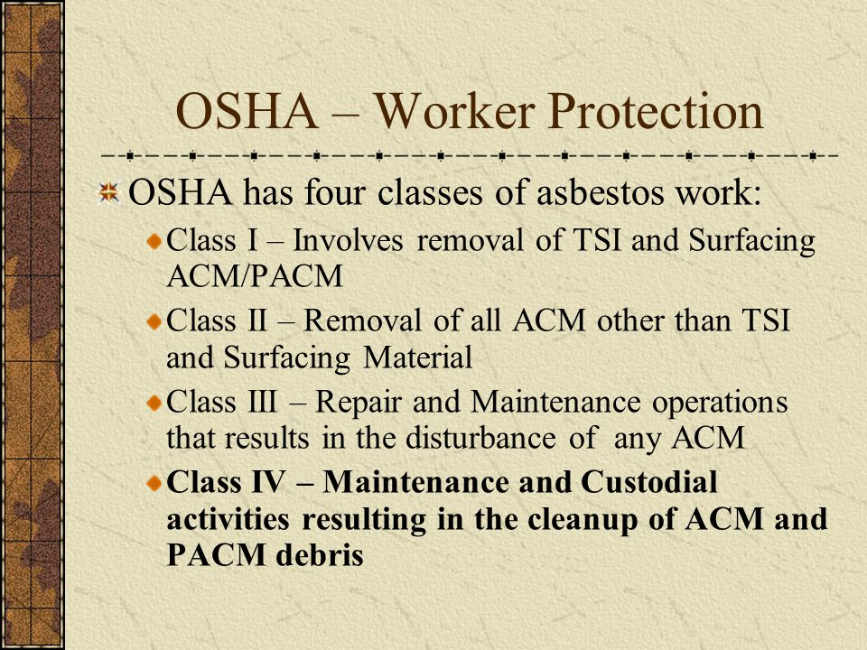 OSHA – Worker Protection