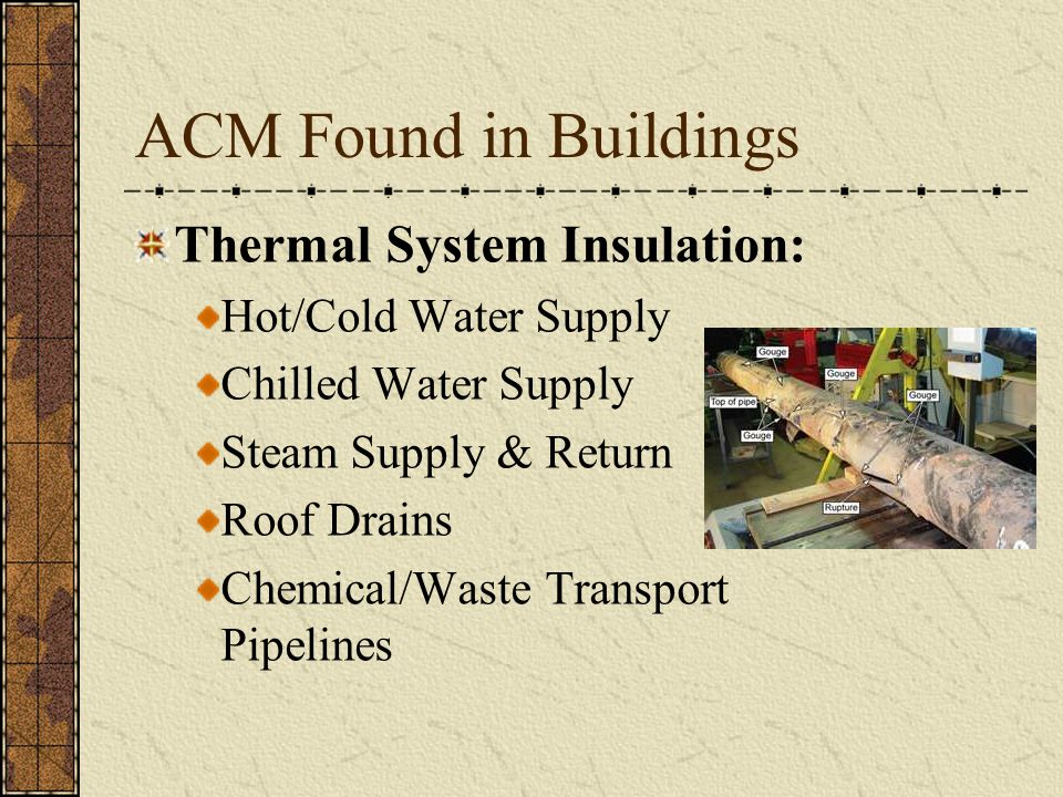 ACM Found in Buildings Thermal System Insulation: