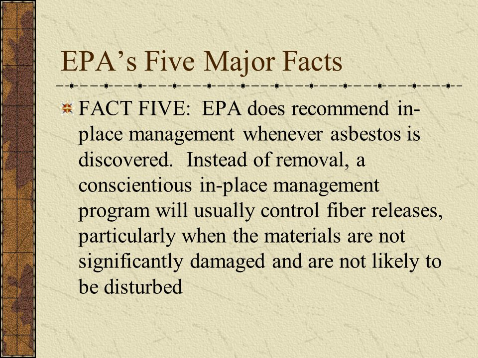 EPA's Five Major Facts