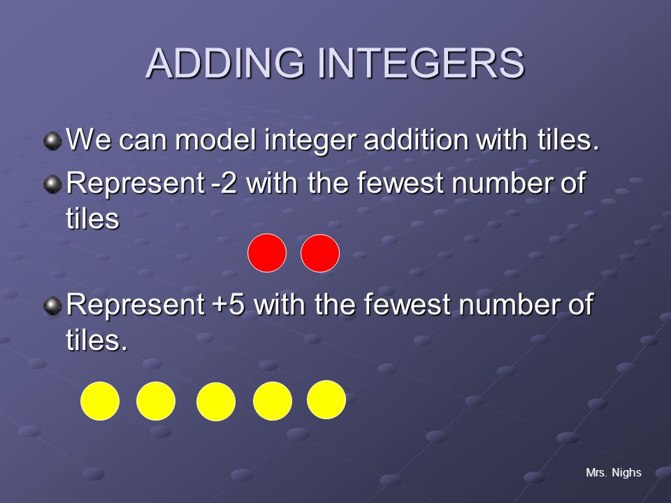 ADDING INTEGERS We can model integer addition with tiles.