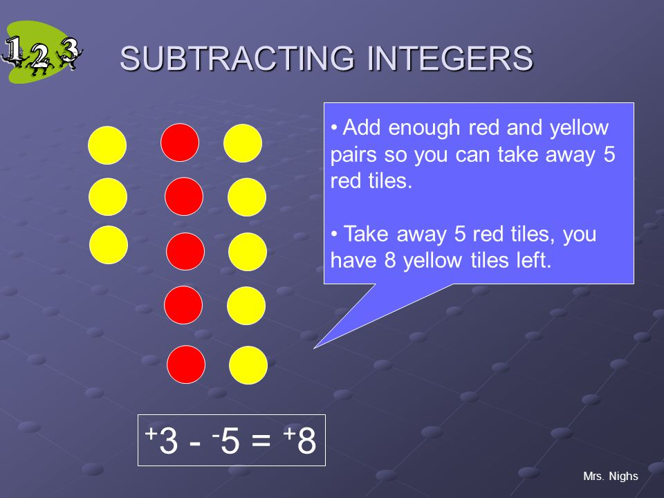 +3 - -5 = +8 SUBTRACTING INTEGERS