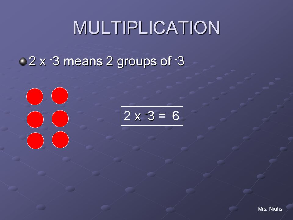 MULTIPLICATION 2 x -3 means 2 groups of -3 2 x -3 = -6 Mrs. Nighs