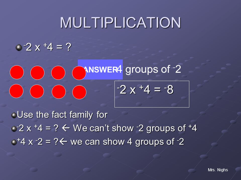 MULTIPLICATION -2 x +4 = -8 -2 x +4 = 4 groups of -2