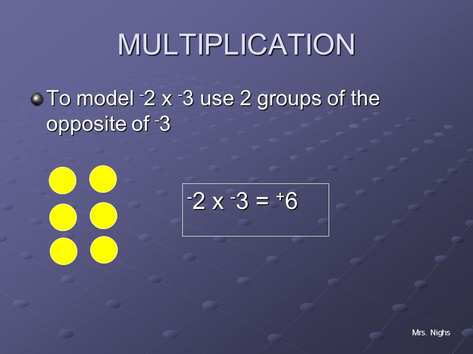 MULTIPLICATION To model -2 x -3 use 2 groups of the opposite of -3 -2 x -3 = +6 Mrs. Nighs