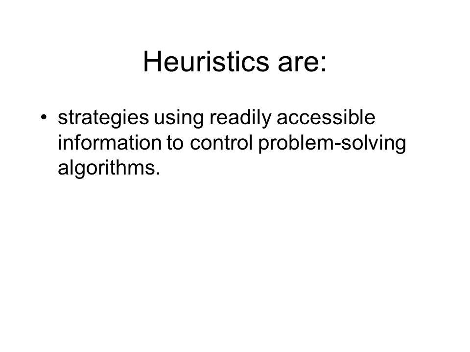 Heuristics are: strategies using readily accessible information to control problem-solving algorithms.