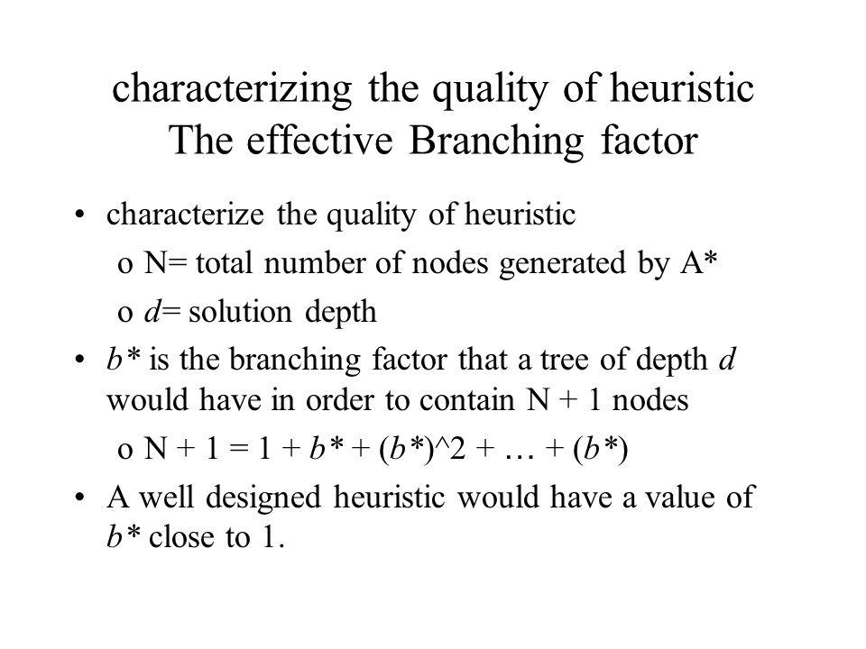characterizing the quality of heuristic The effective Branching factor