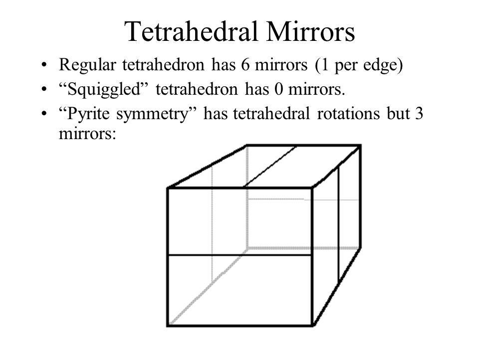 Tetrahedral Mirrors Regular tetrahedron has 6 mirrors (1 per edge)