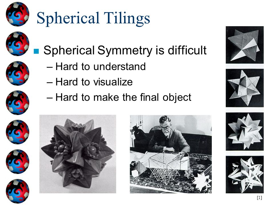 Spherical Tilings Spherical Symmetry is difficult Hard to understand