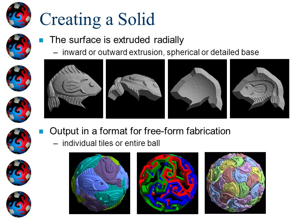 Creating a Solid The surface is extruded radially