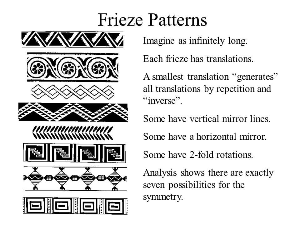 Frieze Patterns Imagine as infinitely long.