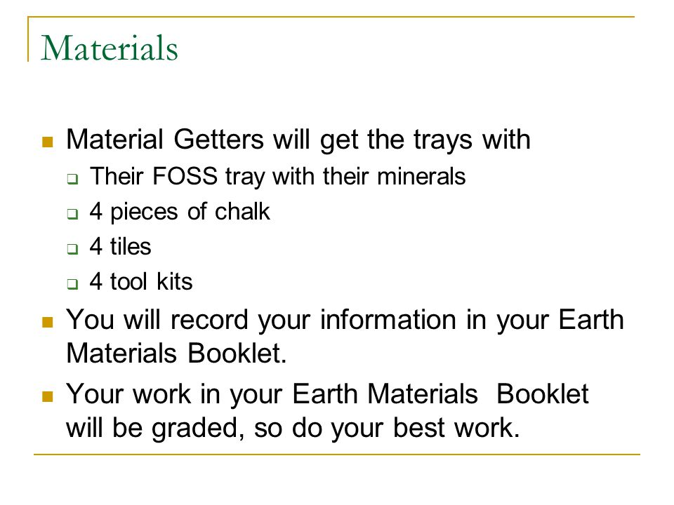 Materials Material Getters will get the trays with