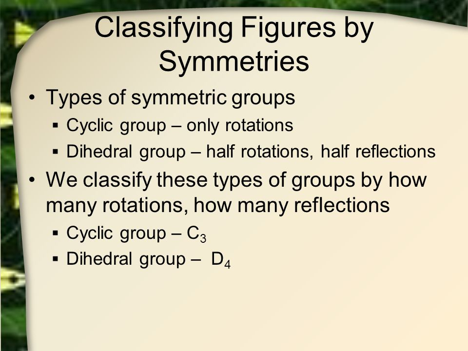 Classifying Figures by Symmetries