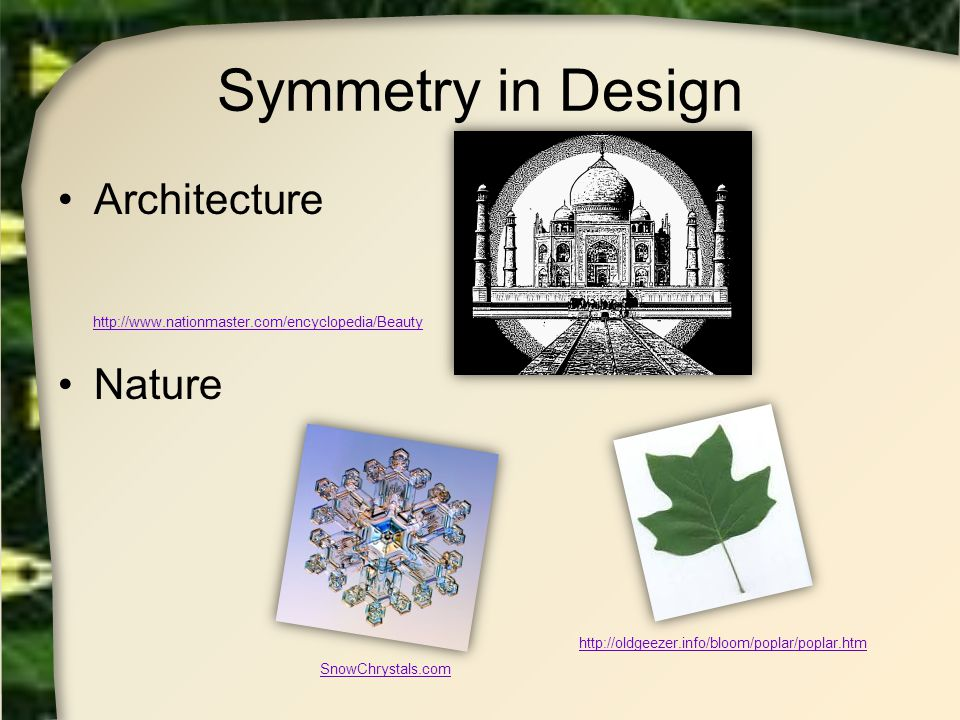 Symmetry in Design Architecture Nature