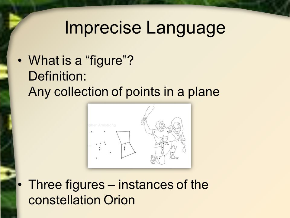 Imprecise Language What is a figure . Definition: Any collection of points in a plane.
