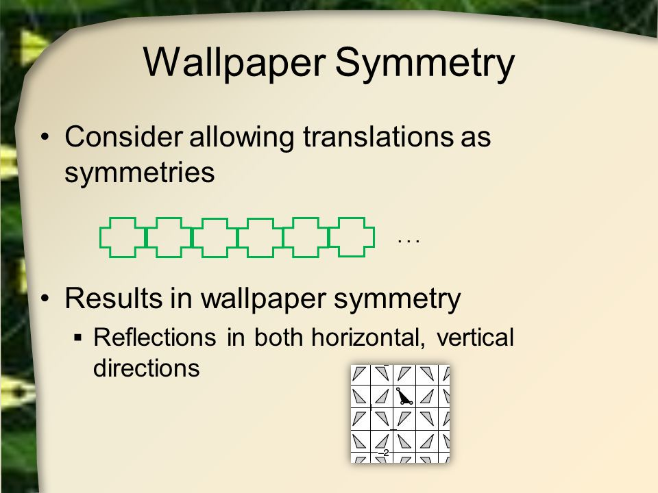 Wallpaper Symmetry Consider allowing translations as symmetries