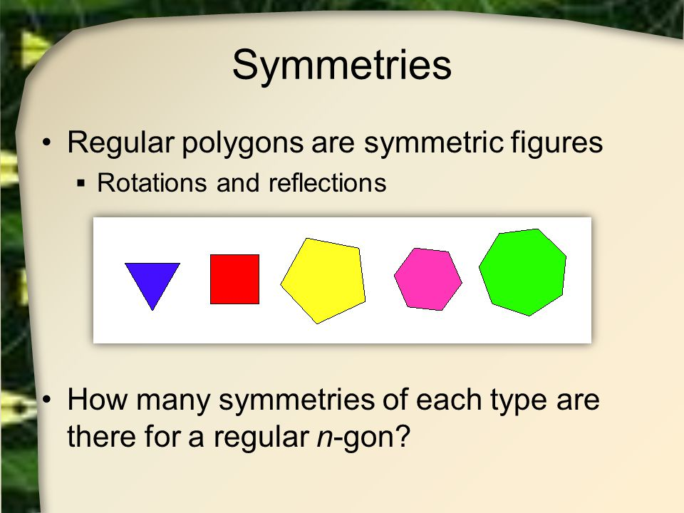 Symmetries Regular polygons are symmetric figures