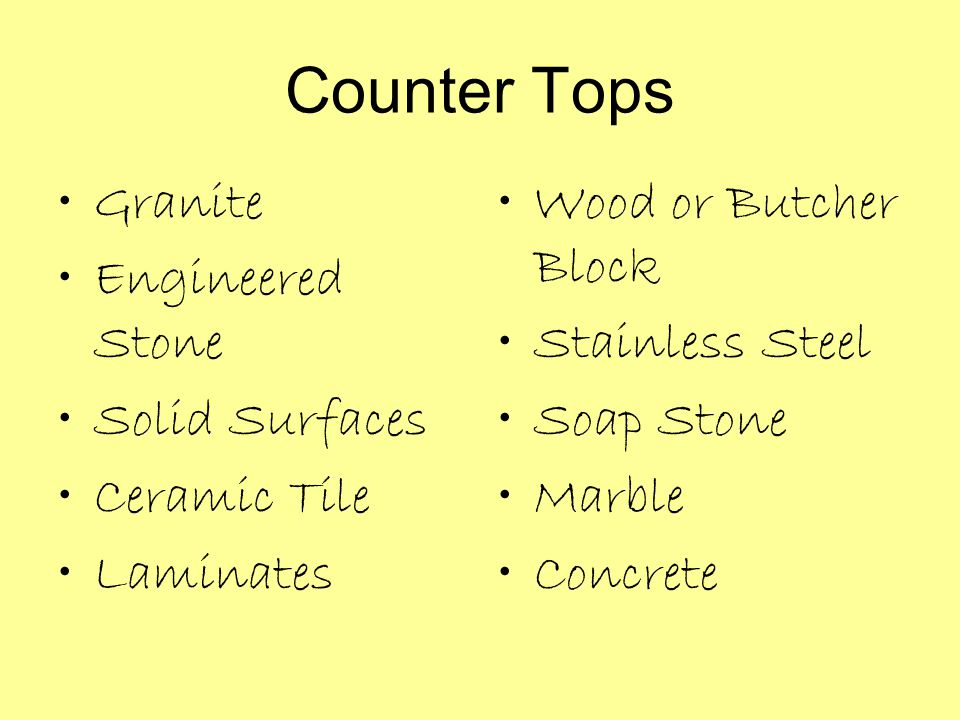 Counter Tops Granite Engineered Stone Solid Surfaces Ceramic Tile